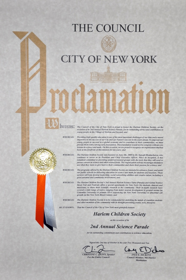 NY Senate Proclamation to HCS and Dr. Sat